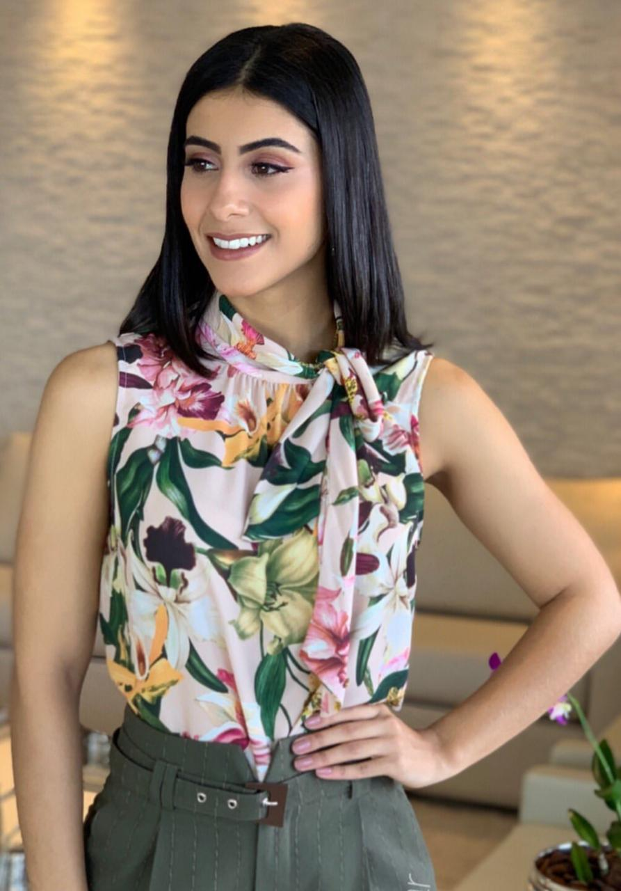 Blusa Talita Crepe Floral Laço