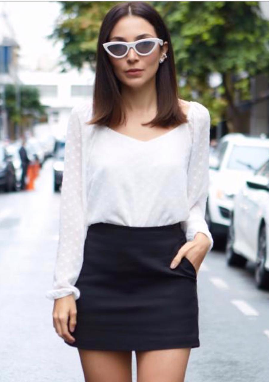 Blusa Talita Crepe  Poa Devore M/Longa