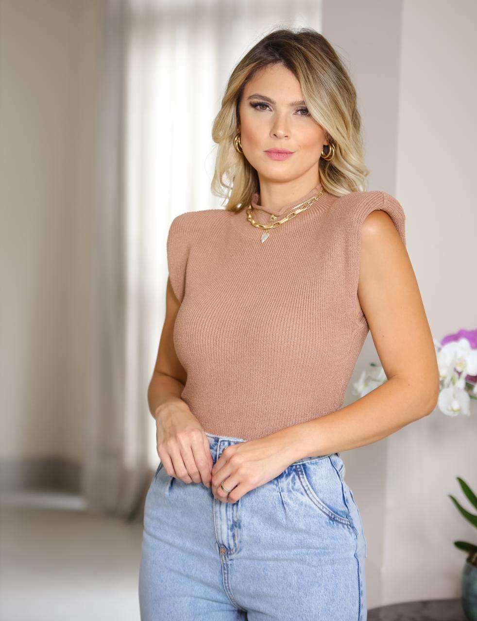 Blusa Tricot Nicole Detalhe Ombreira