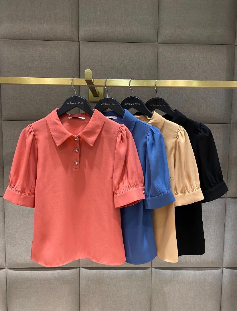 Blusa Unique Colors  Crepe Botoes