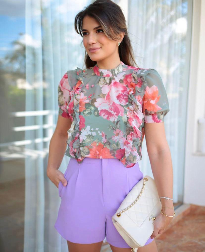Blusa Valentina Crepe Floral Babados +Regata