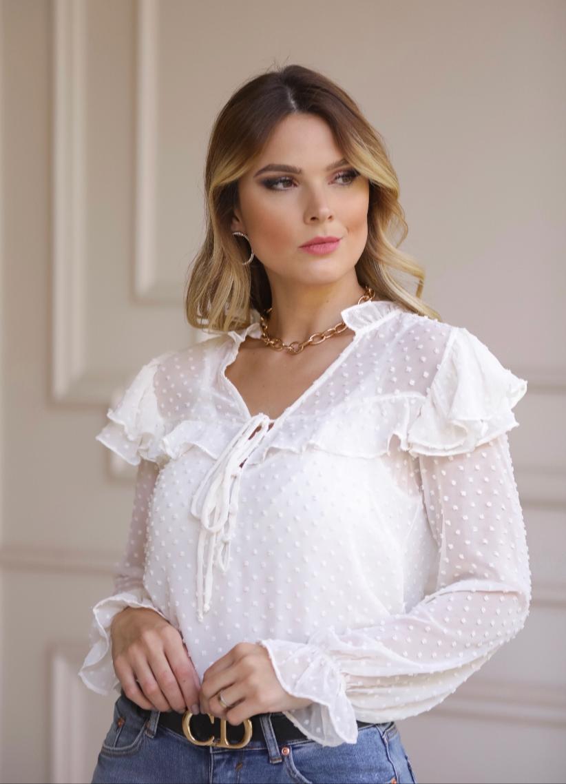 Blusa Valeria Voil Pompom  + Regata