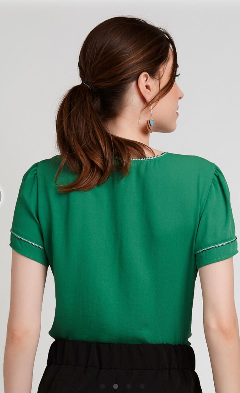 Blusa Vanessa Crepe Vivo Crepe Vivo Bicolor Cores Marinho e Verde