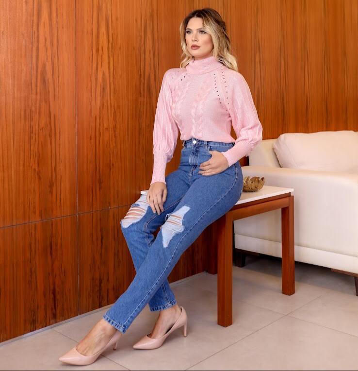Blusa Veronica Tricot Detalhe Golinha