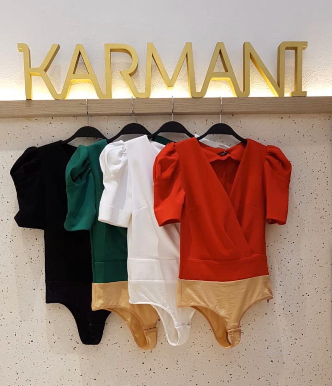 Body Karmani Crepe Transpasse Manga Bufante 3%Elastano