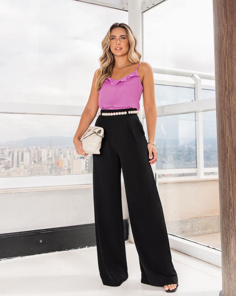 Calça Adriana Pantalona Crepe Twill Cintura Alta + Cinto Perola 5% Elastano