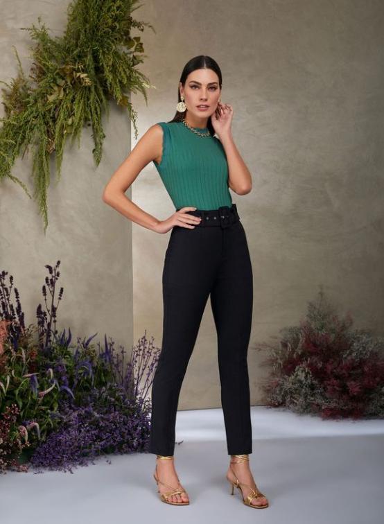 Calça Unique  Alfaiataria Skinny Cinto 4% Elastano