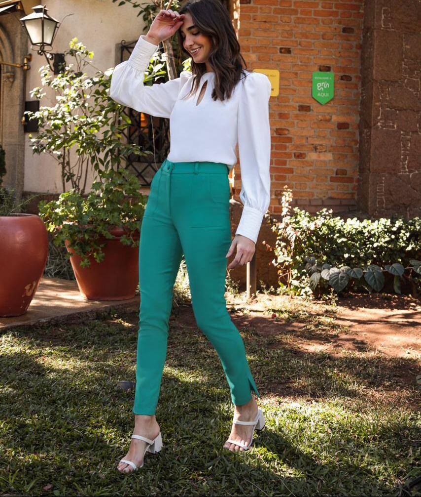 Calça Ariane Alfaiataria Skinny (Forro) Detalhe Bolsos Fenda Lateral 4% Elastano