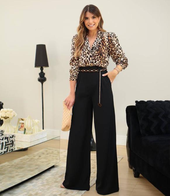 Calça Ariane Pantalona Crepe Twill Detalhe Cinto Bicho