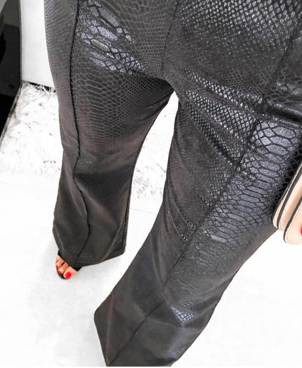 Calça Morina  Cotele Com Foil SNAKE 2%Elastano (Não Acompanha Cinto)