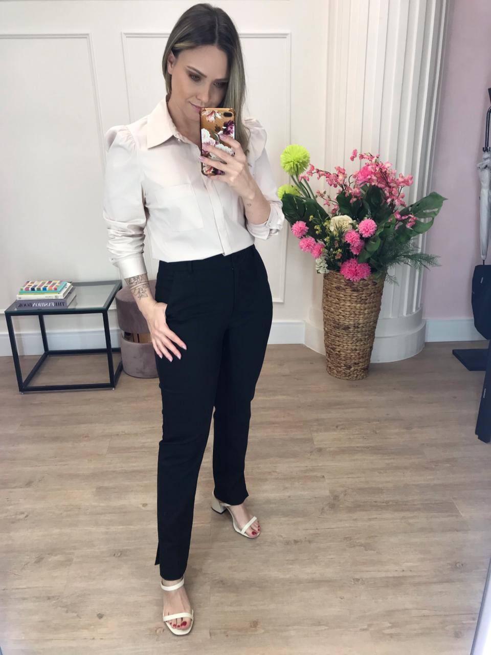 Calça Denise Alfaiataria Skinny 4% Elastano Detalhe Bolsos Fenda Lateral