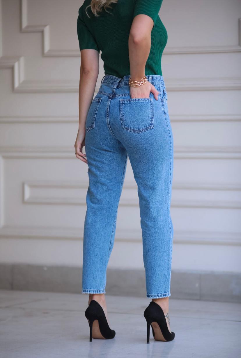 Calça Esmeral Jeans Mom Lisa