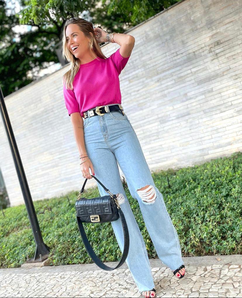 Calça Esmeral   Jeans Reta  Com Rasgo