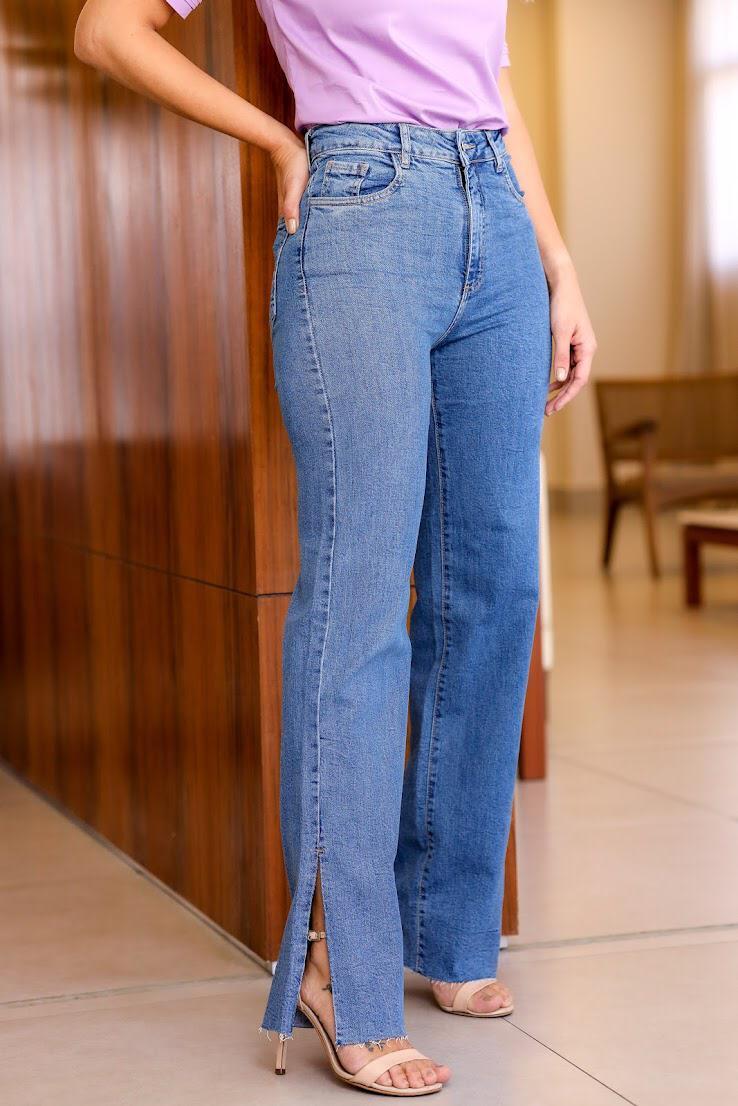Calça Esmeral Jeans Strecth Detalhe Fenda 2% Elastano