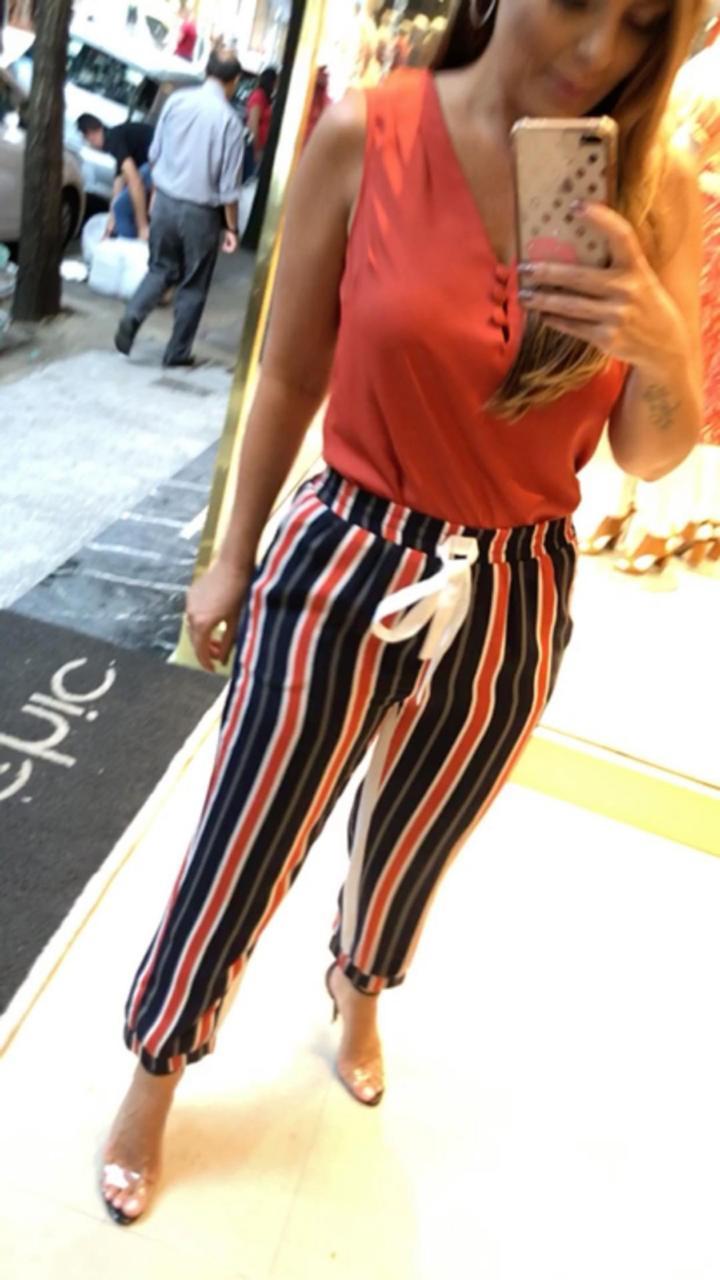 Calça Fabiana Viscose  Sport Stripe Elastico