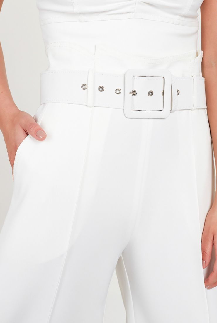 Calça Fernanda Pantalona Crepe Alfaiataria Com Elastano + Cinto