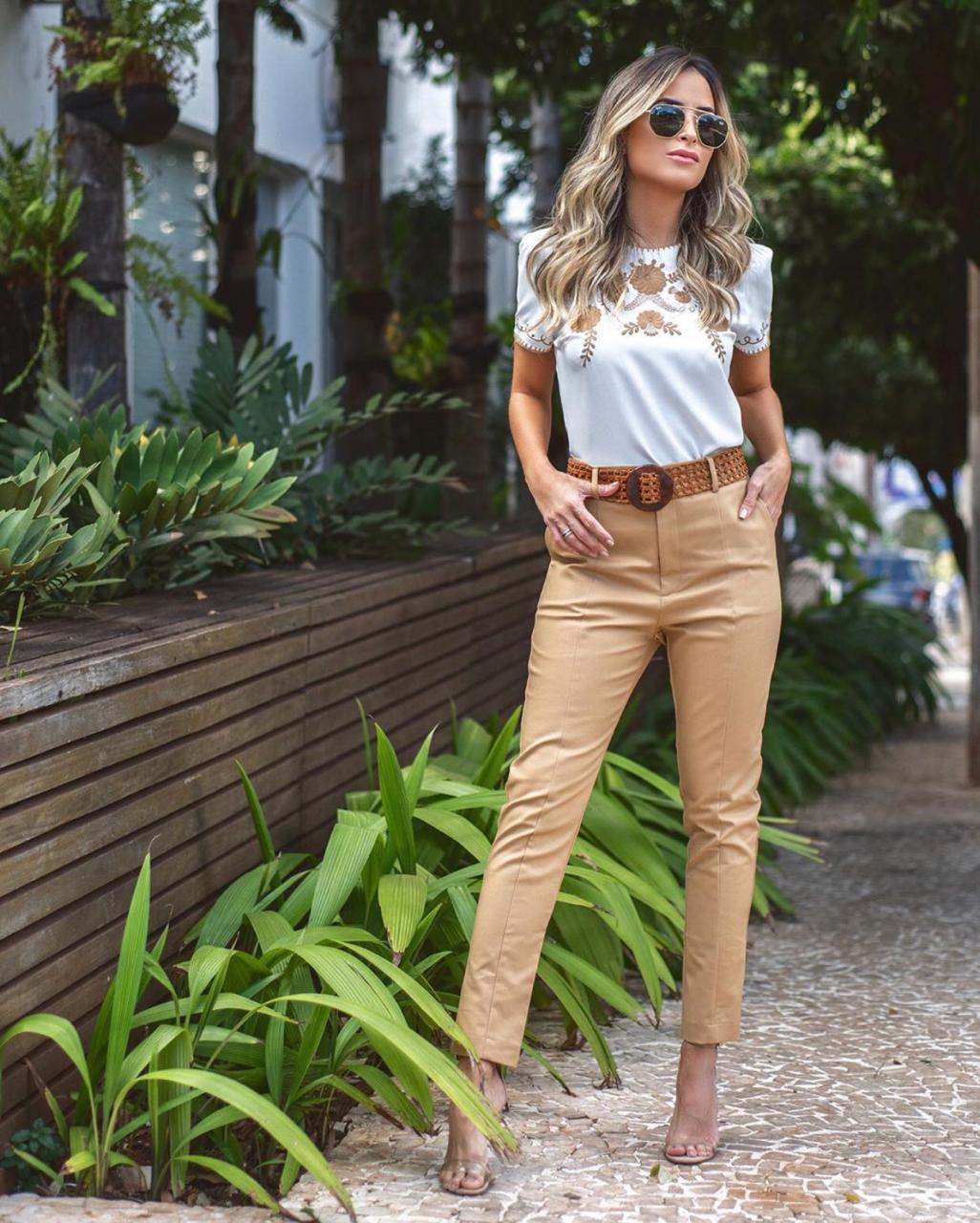 Calça Fernanda Unique Alfaiataria 3% Elastano + Cinto Trama