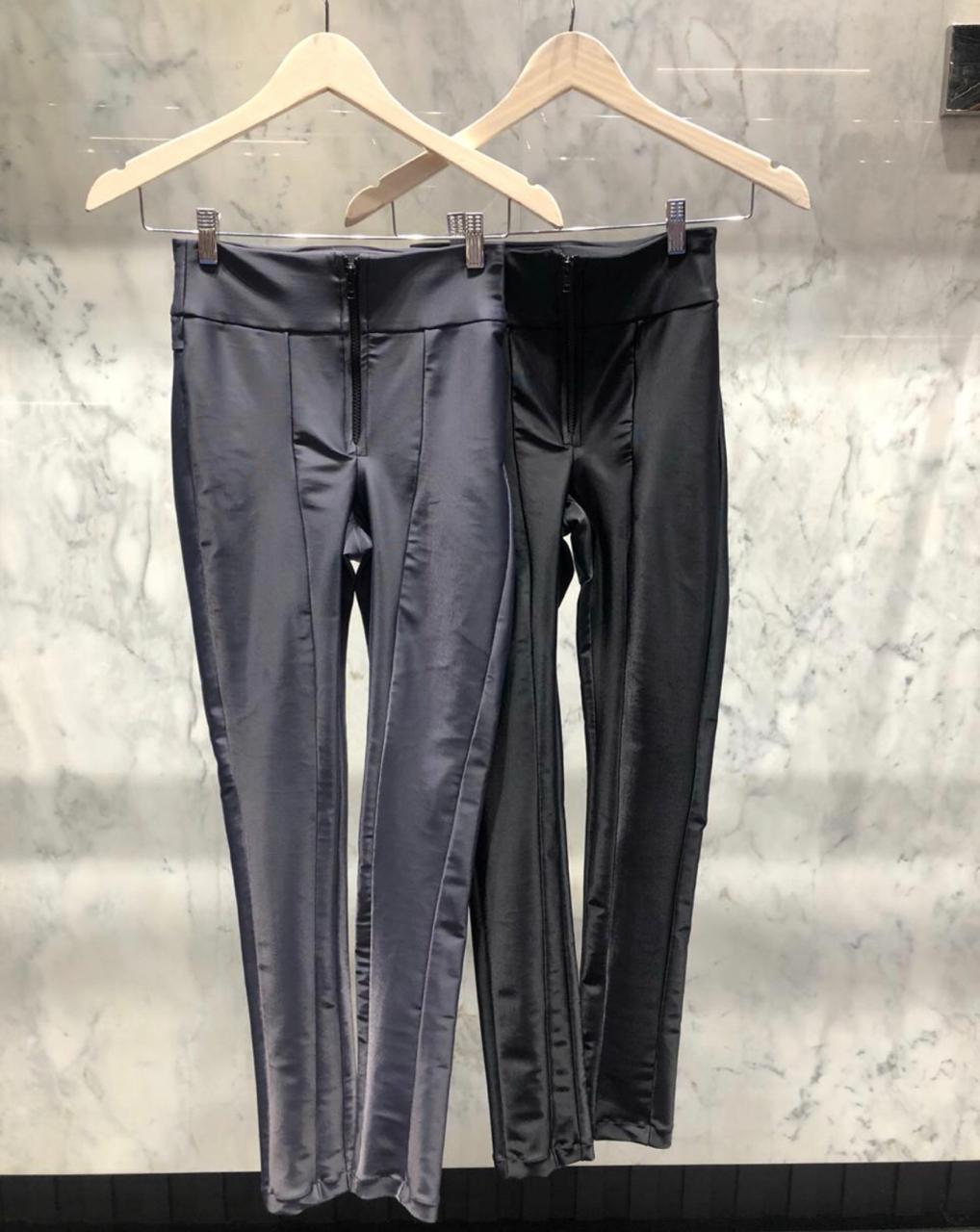 Calça Morina Power Com Zipper Frontal Skinny Cores Cinza e Preto