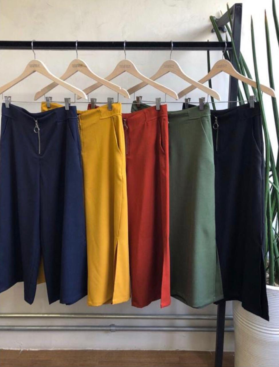 Calça Gloria Pantacourt Viscolinho 1% Elastano Cores Mostarda,Verde, Preto, Marinho e Telha