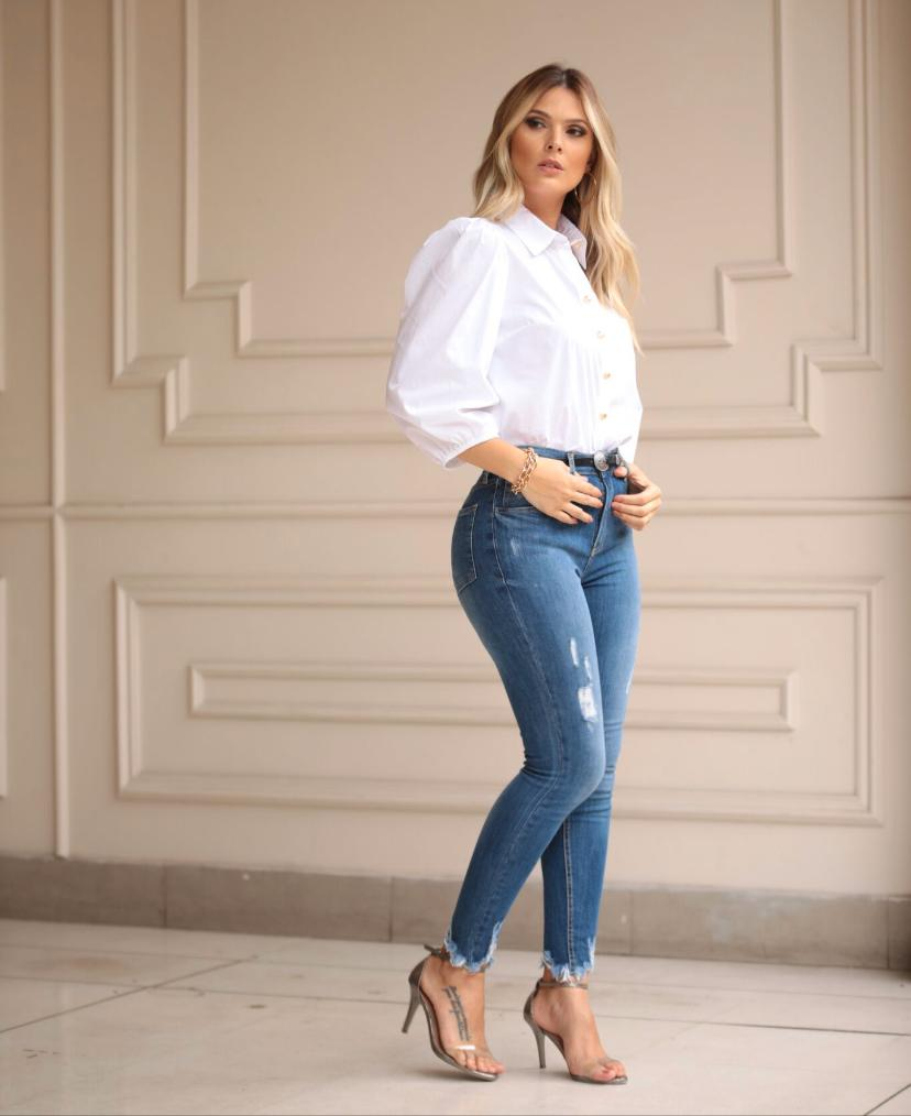 Calça Hit Jeans Skinny Cintura Alta  2% Elastano