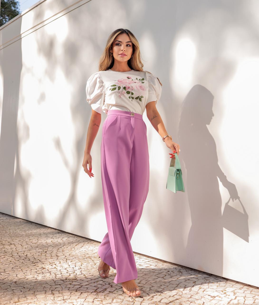 Calça Joana Pantalona Alfaiataria Crepe