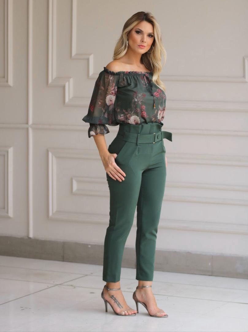 Calça Karmani Crepe Clochard +Faixa 4%Elastano Verde