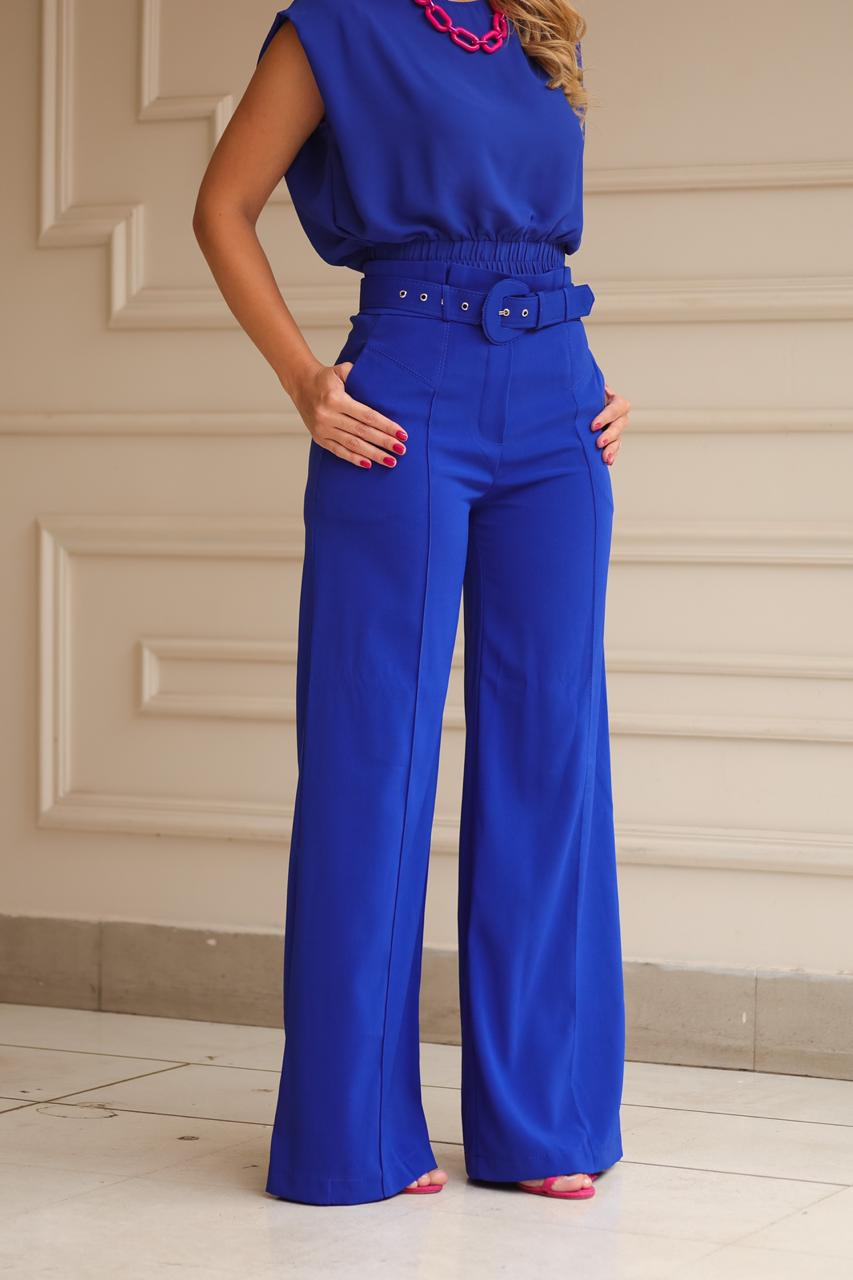 Calça Karmani Pantalona Alfaiataria Acetinada C/Cinto 4% Elastano