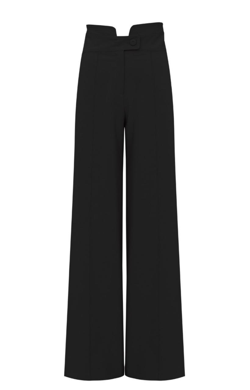 Calça karmani Pantalona Alfaiataria Detalhe Botão Forrado 10% Elastano