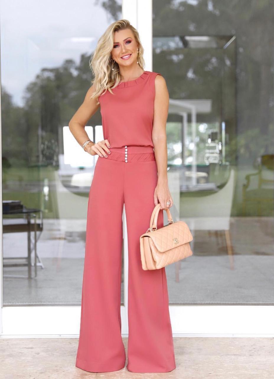 Calça Laila Unique  Crepe  Detalhe Cintura  11% Elastano Cores Rose e Marinho