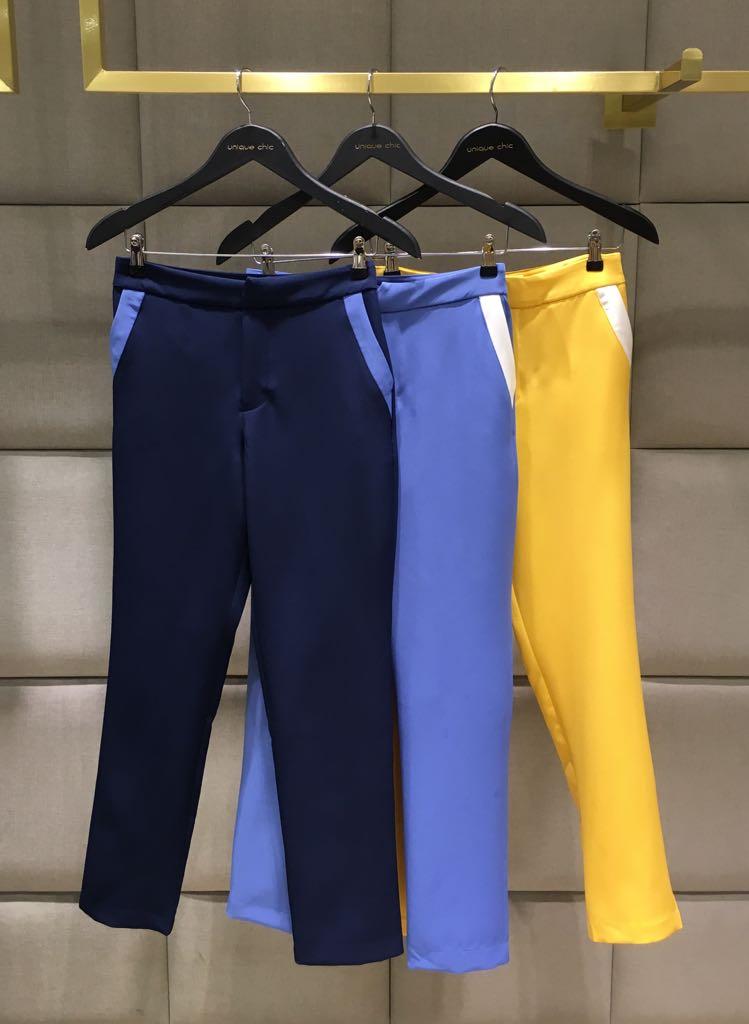 Calça Ligiane Alfaiataria Bicolor Marinho e Amarelo