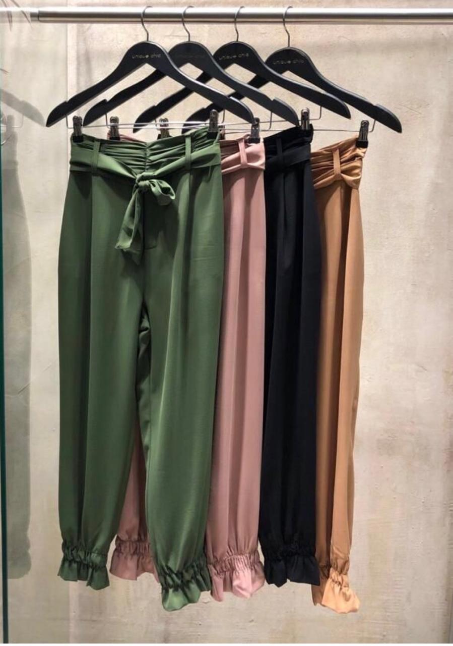 Calça Lize Unique Detalhe Cós Franzindo Cores Verde e Nude