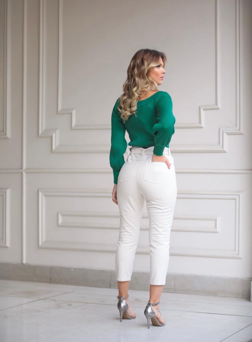 Calça  Marina  Algodao c/ cinto