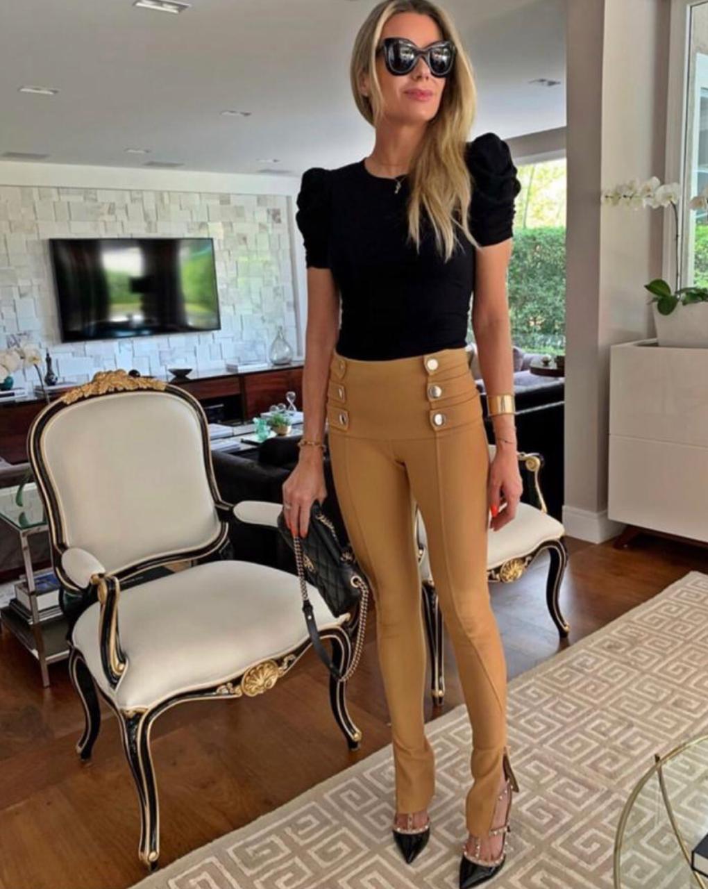 Calça  Morina  Ami com 3 Tiras  Ziper na perna