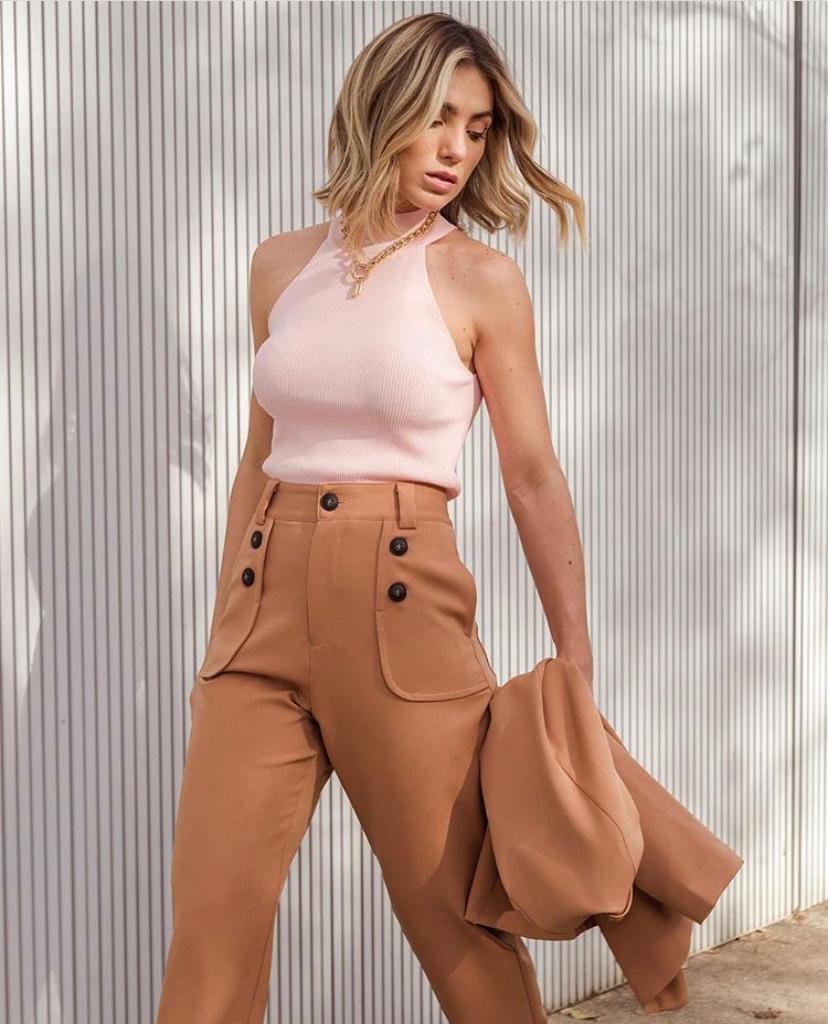 Calça Morina Botão Vogue Crepe 5% Elastano