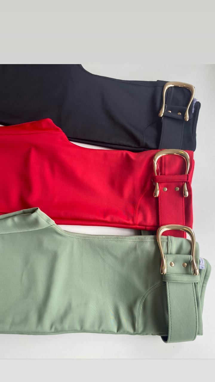 Calça Morina Flare com cinto 12% elastano