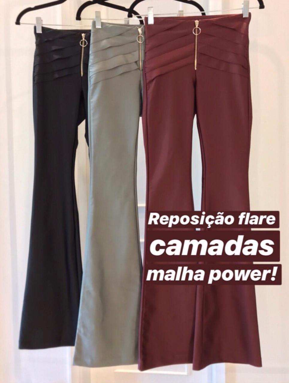 CALÇA MORINA FLARE POWER CAMADAS E ZIPER