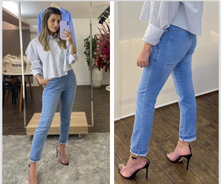 Calça Morina Lauren Jeans Moletom Detalhe Bolsos/Ziper Lateral 2% Elastano