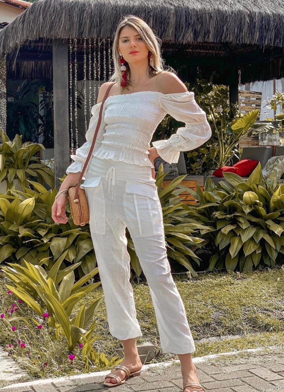 Calça Morina  Linho com bolso