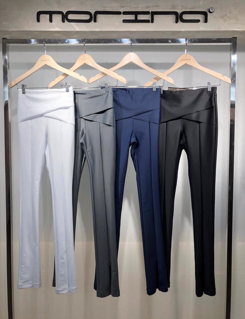 Calça Morina Power  com Transpasse Detalhe ziper na perna cores :preta  ,azul Marinho ,verde e chumbo