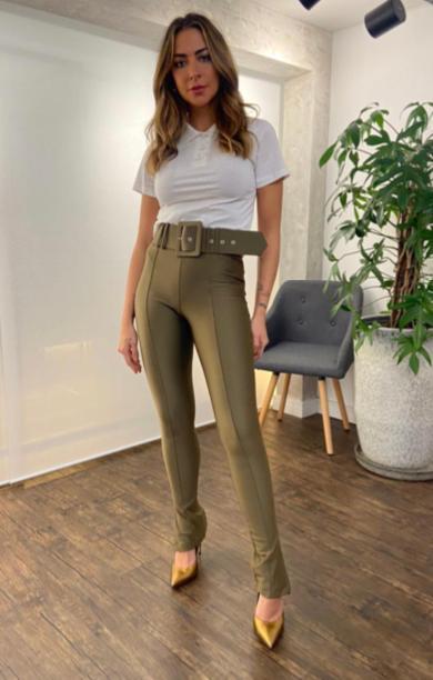 Calça Morina Power Skinny  Cinto Sophie Fivela Quadrada 12% Elastano