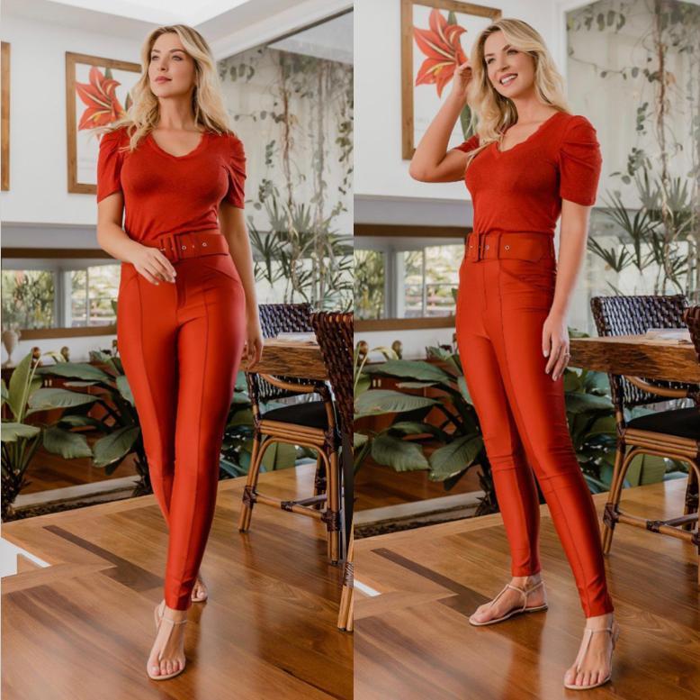 Calça Morina  Power Skinny Com Cinto 12 % ELASTANO