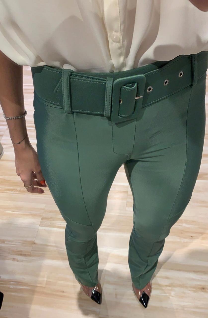 Calça Morina  Power Skinny Com Cinto 12 % ELASTANO Cores Verde MIlitar, Preto, Marinho e Terra Cota