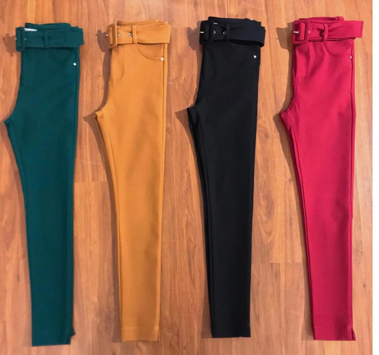 Calça Morina Tecido Amy Skinny Cores Marsala,Marinho, Verde e Caramelo