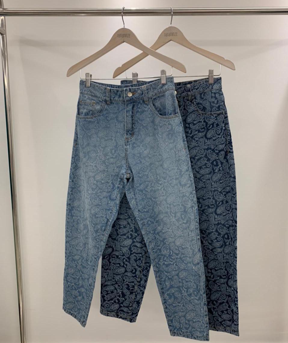 Calça Paisley Sarja Jeans Cintura Alta Detalhe Acabamento Pespontado