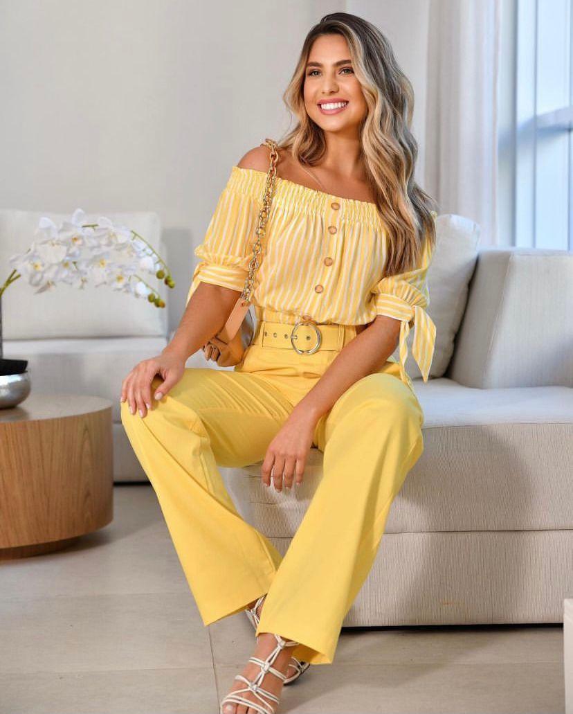 Calça Paola Sarja Wide Leg + Cinto Fivela