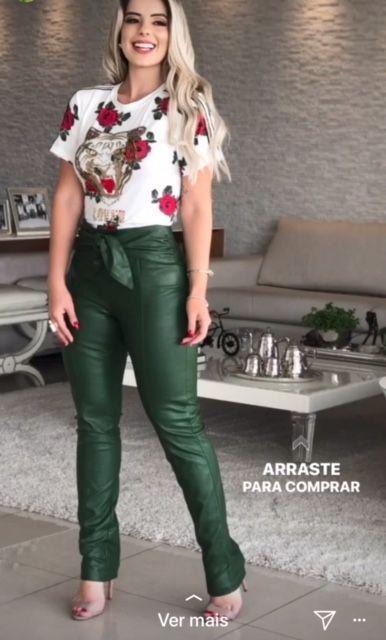 CALÇA RAIZA COURO LAÇO CARAMELO  E PRETA