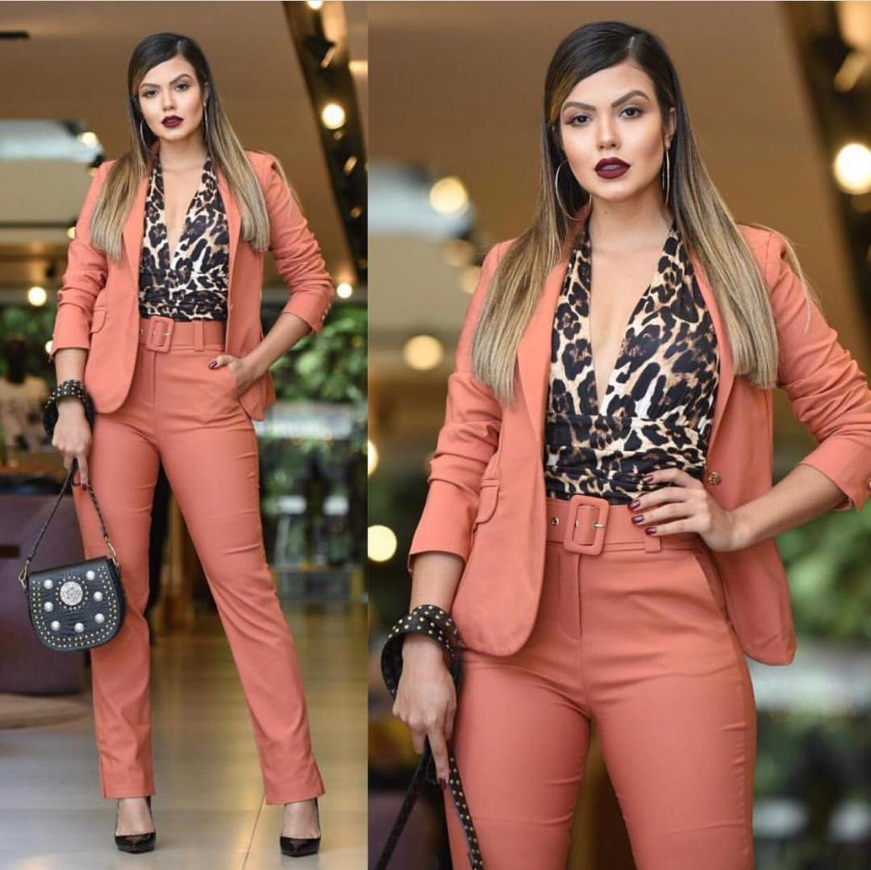Calça Rosa alfaitaria Com Cinto 4% Elastano Acompanha Cinto
