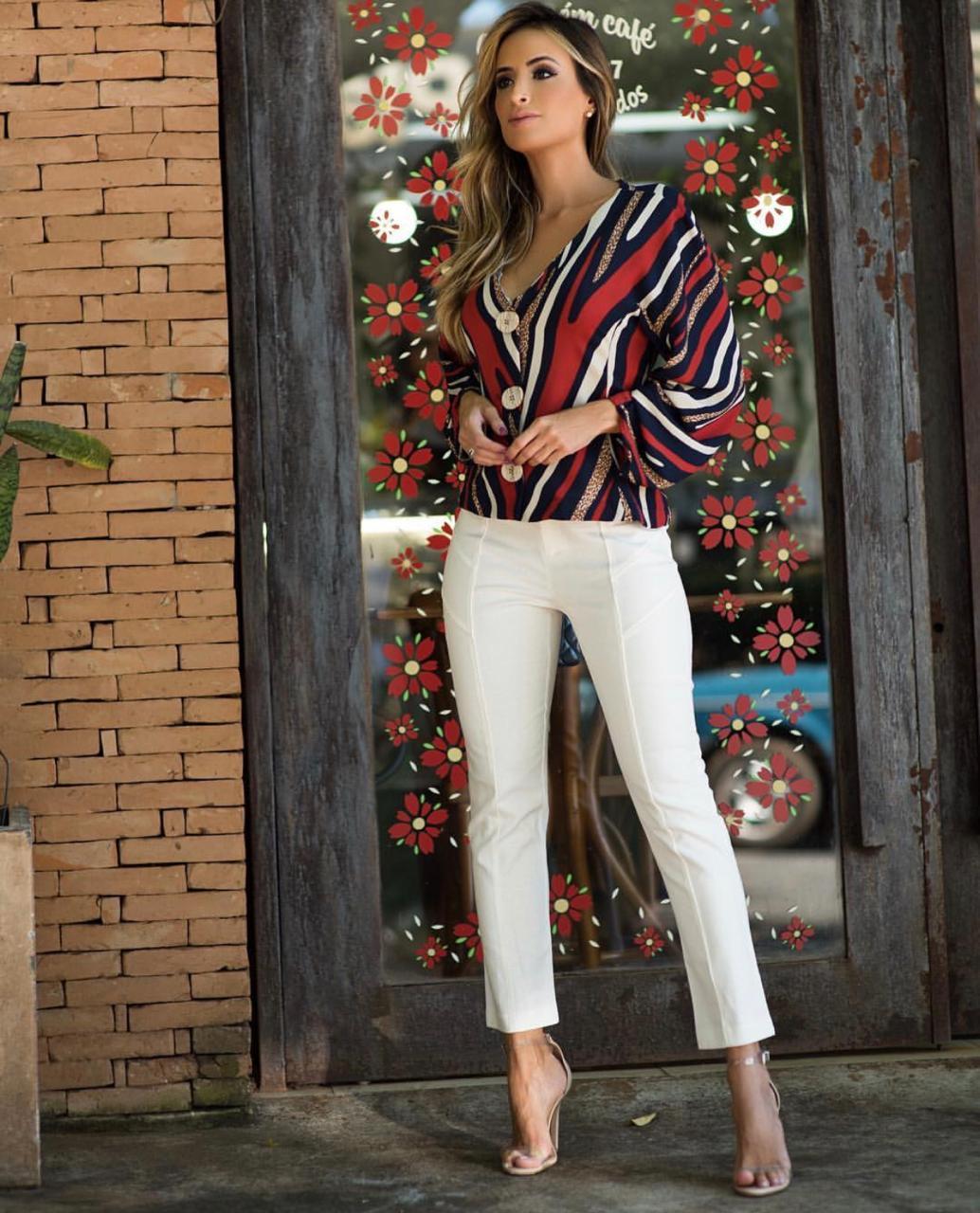 Calça Sabrina linho cores: OFF,Rose e marinho 3%Elastano