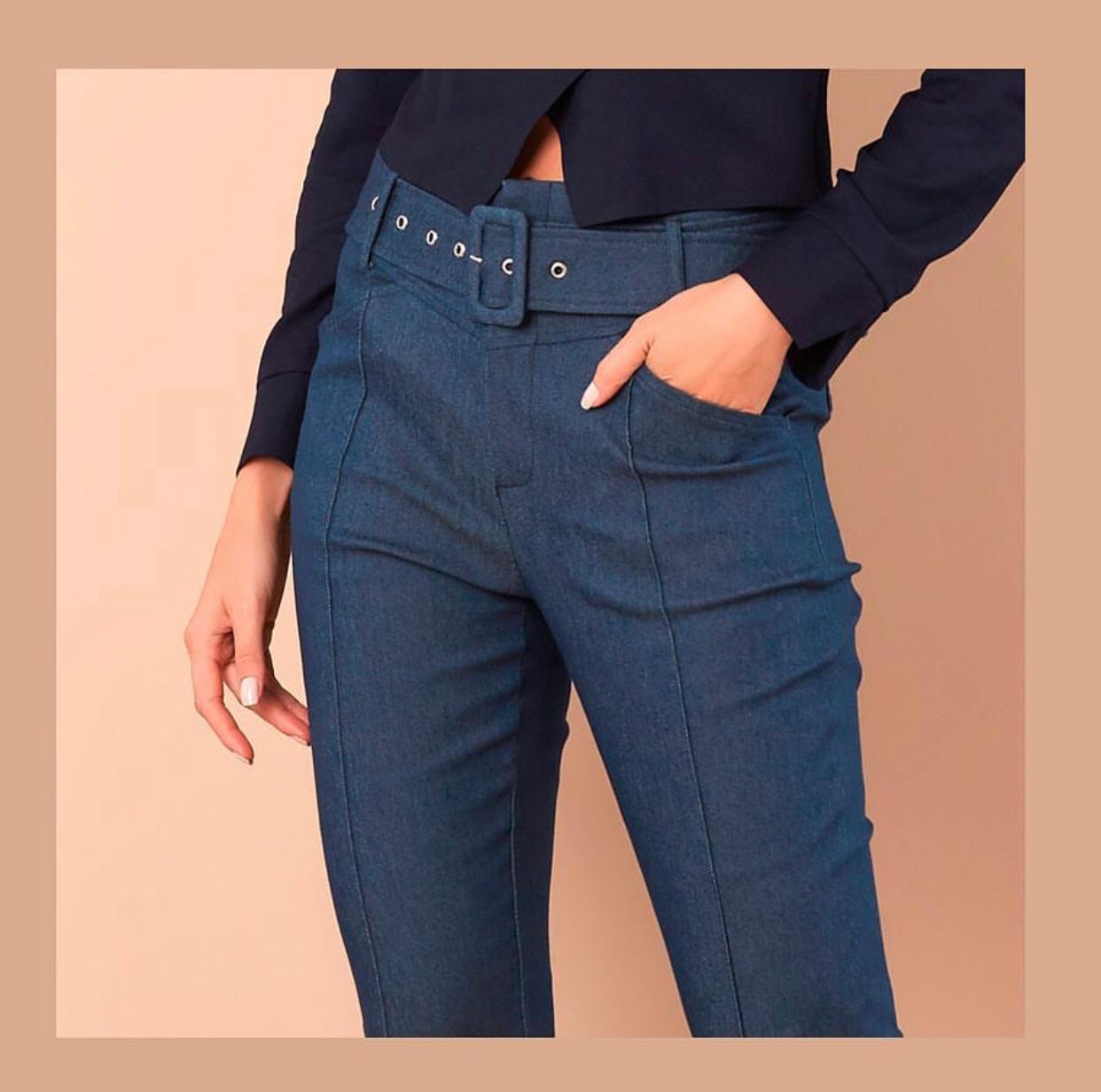 Calça Tabata Jeans Skinny Cinto (2% elastano)