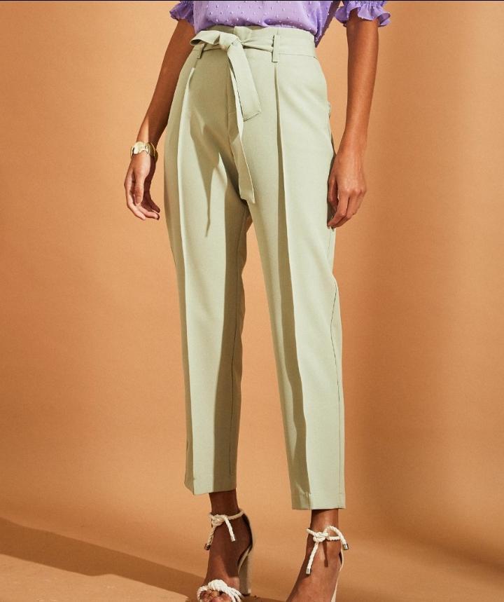 Calça Unique Alfaiataria 6% Elastano Detalhe Amarração